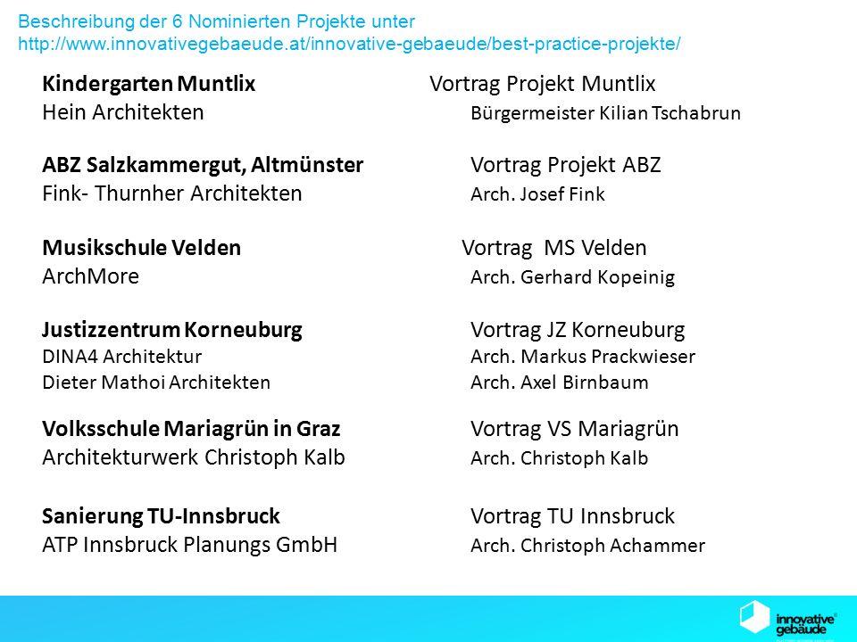 SB13 Graz Kindergarten Muntlix Vortrag Projekt Muntlix Hein Architekten Bürgermeister Kilian Tschabrun Beschreibung der 6 Nominierten Projekte unter http://www.innovativegebaeude.at/innovative-gebaeude/best-practice-projekte/ Musikschule Velden Vortrag MS Velden ArchMore Arch.
