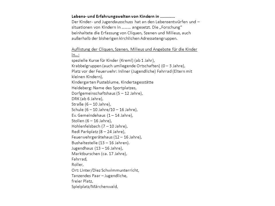 Musikkurse, Musikschule, private Musiklehrer, Musikvereine, Kulturelle Angebote, Kino (in der nächsten Stadt), Pfarrgarten, Eisgeschäft (alle Altersgruppen), Turnverein, Turn- und Sportverein: Kinderturnen (ab 1 Jahr) Fußball Turnen Tanzen Heidelberg = Sportplatz Turnhalle Kletter- und Schießverein Ballett, Judo, Karate, Jugendfeuerwehr, Schulhöfe (Grundschule/Regionalschule) In ……… leben 3.300 Menschen, 2.000 davon sind evangelisch, es gibt ca.