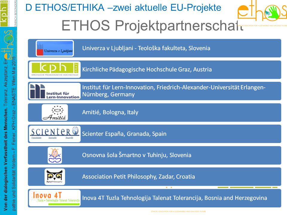 D ETHOS/ETHIKA –zwei aktuelle EU-Projekte ETHOS Projektpartnerschaft Von der dialogischen Verfasstheit des Menschen. Toleranz, Akzeptanz, Em- pathie u
