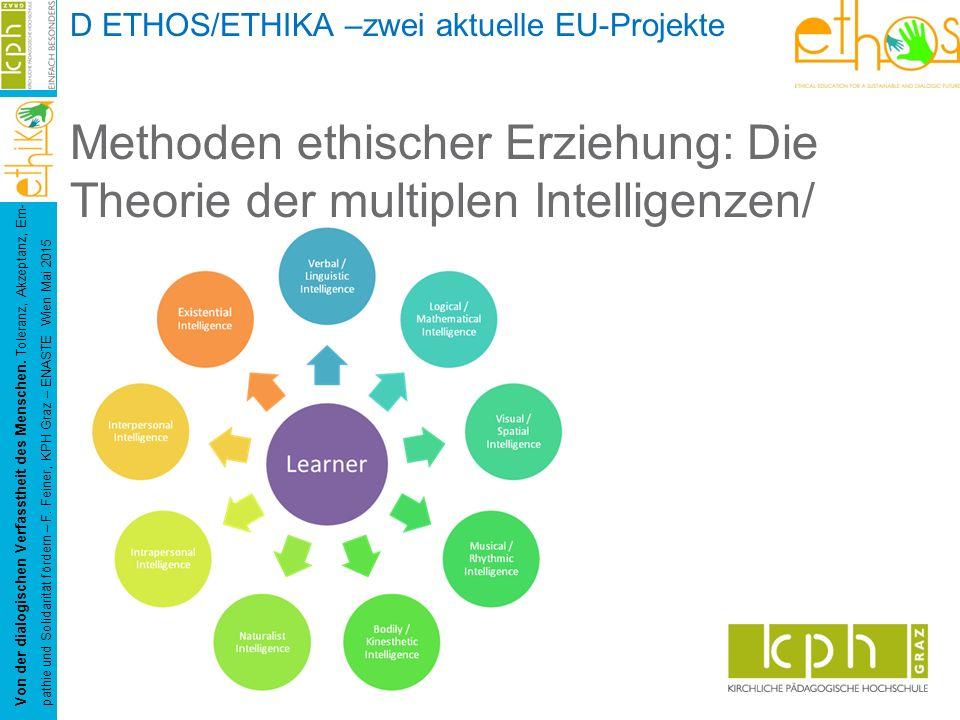 D ETHOS/ETHIKA –zwei aktuelle EU-Projekte Methoden ethischer Erziehung: Die Theorie der multiplen Intelligenzen/ Von der dialogischen Verfasstheit des