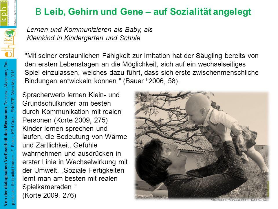 B Leib, Gehirn und Gene – auf Sozialität angelegt Von der dialogischen Verfasstheit des Menschen. Toleranz, Akzeptanz, Em- pathie und Solidarität förd