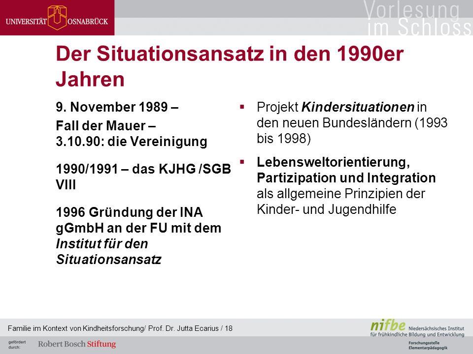 Der Situationsansatz in den 1990er Jahren 9. November 1989 – Fall der Mauer – 3.10.90: die Vereinigung 1990/1991 – das KJHG /SGB VIII 1996 Gründung de