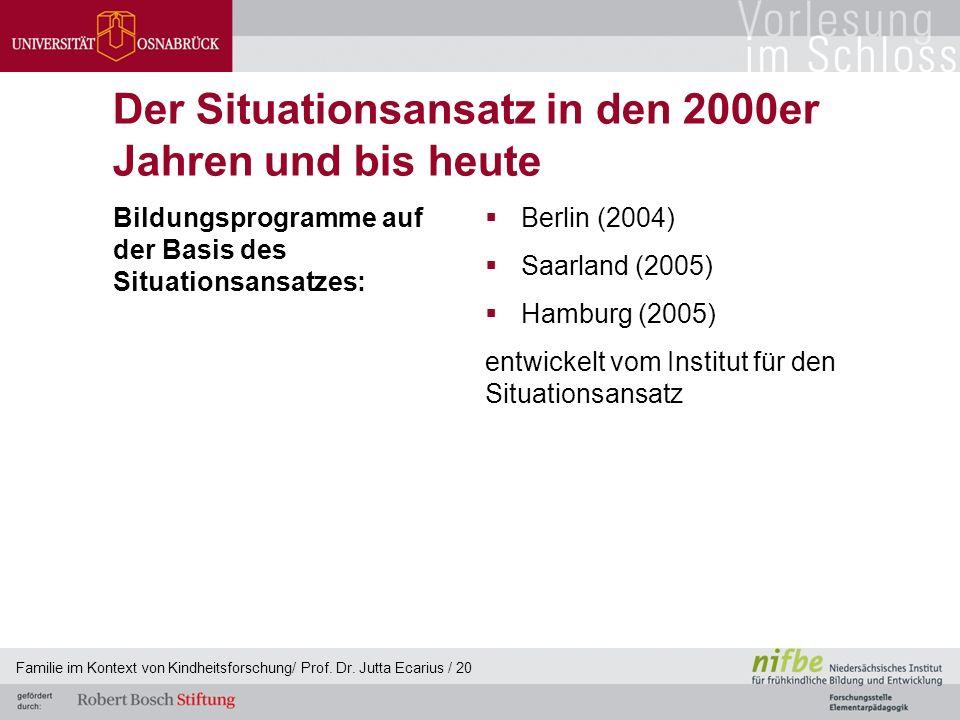 Der Situationsansatz in den 2000er Jahren und bis heute Bildungsprogramme auf der Basis des Situationsansatzes:  Berlin (2004)  Saarland (2005)  Ha