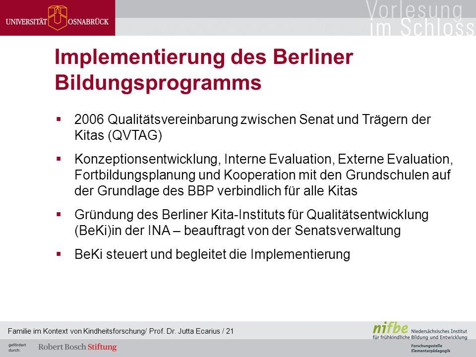Familie im Kontext von Kindheitsforschung/ Prof. Dr. Jutta Ecarius / 21 Implementierung des Berliner Bildungsprogramms  2006 Qualitätsvereinbarung zw