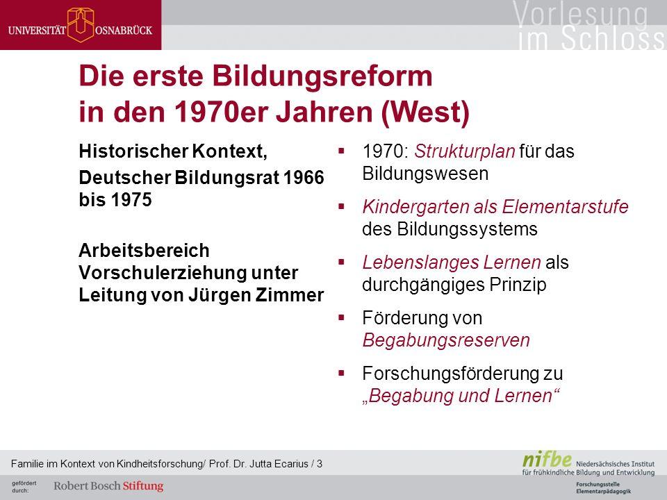 Die erste Bildungsreform in den 1970er Jahren (West) Historischer Kontext, Deutscher Bildungsrat 1966 bis 1975 Arbeitsbereich Vorschulerziehung unter
