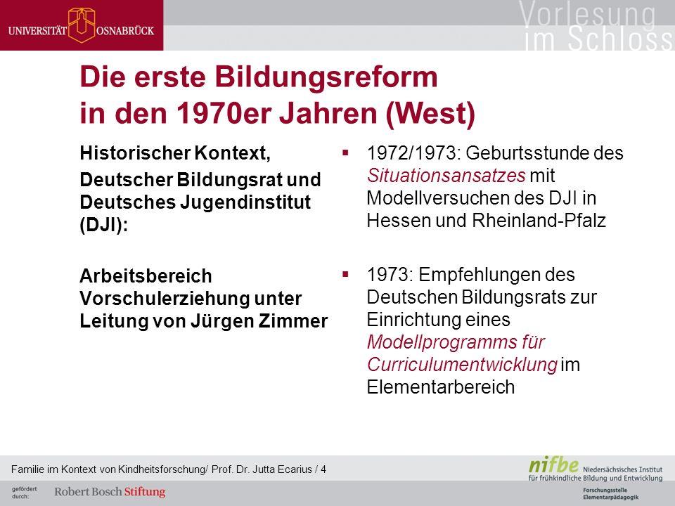 Die erste Bildungsreform in den 1970er Jahren (West) Historischer Kontext, Deutscher Bildungsrat und Deutsches Jugendinstitut (DJI): Arbeitsbereich Vo