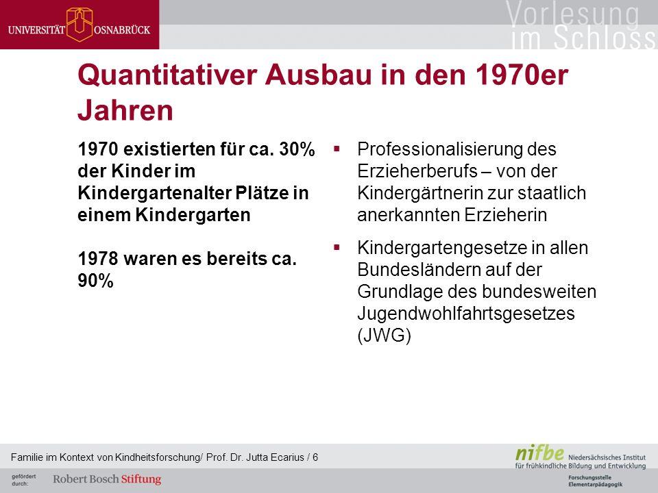 Quantitativer Ausbau in den 1970er Jahren 1970 existierten für ca. 30% der Kinder im Kindergartenalter Plätze in einem Kindergarten 1978 waren es bere