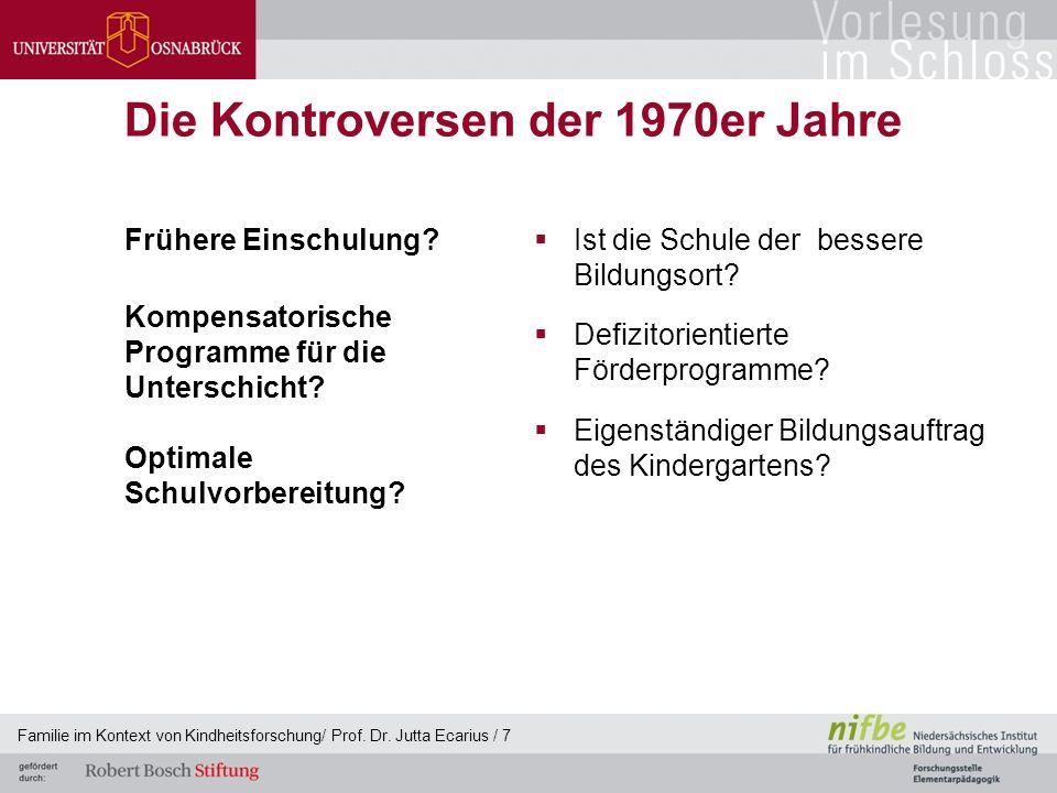 Die Kontroversen der 1970er Jahre Frühere Einschulung? Kompensatorische Programme für die Unterschicht? Optimale Schulvorbereitung?  Ist die Schule d