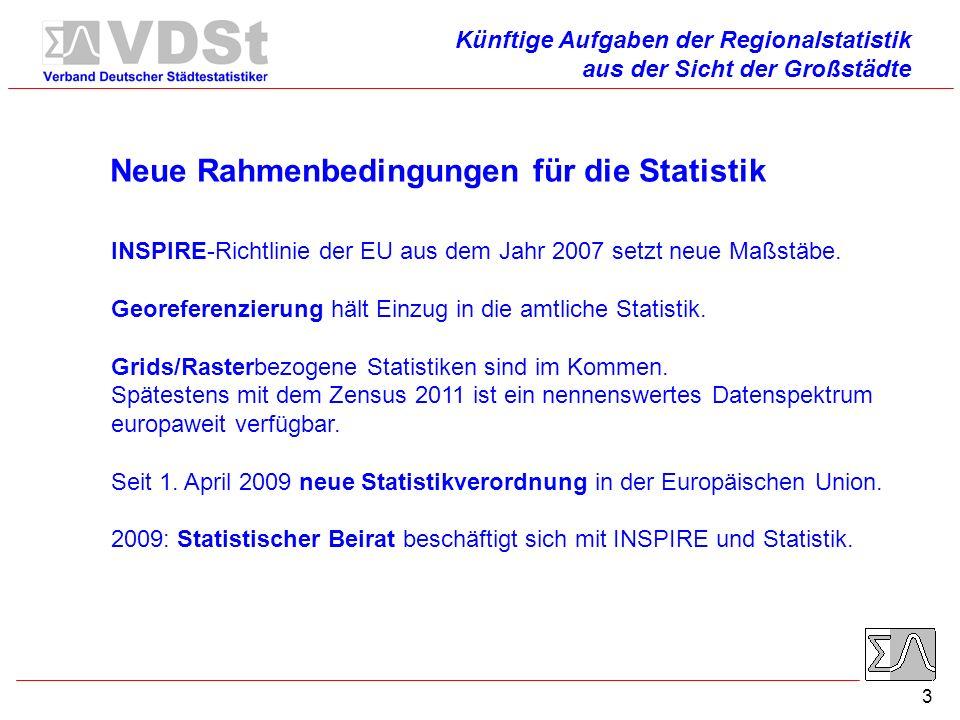 3 Neue Rahmenbedingungen für die Statistik INSPIRE-Richtlinie der EU aus dem Jahr 2007 setzt neue Maßstäbe.