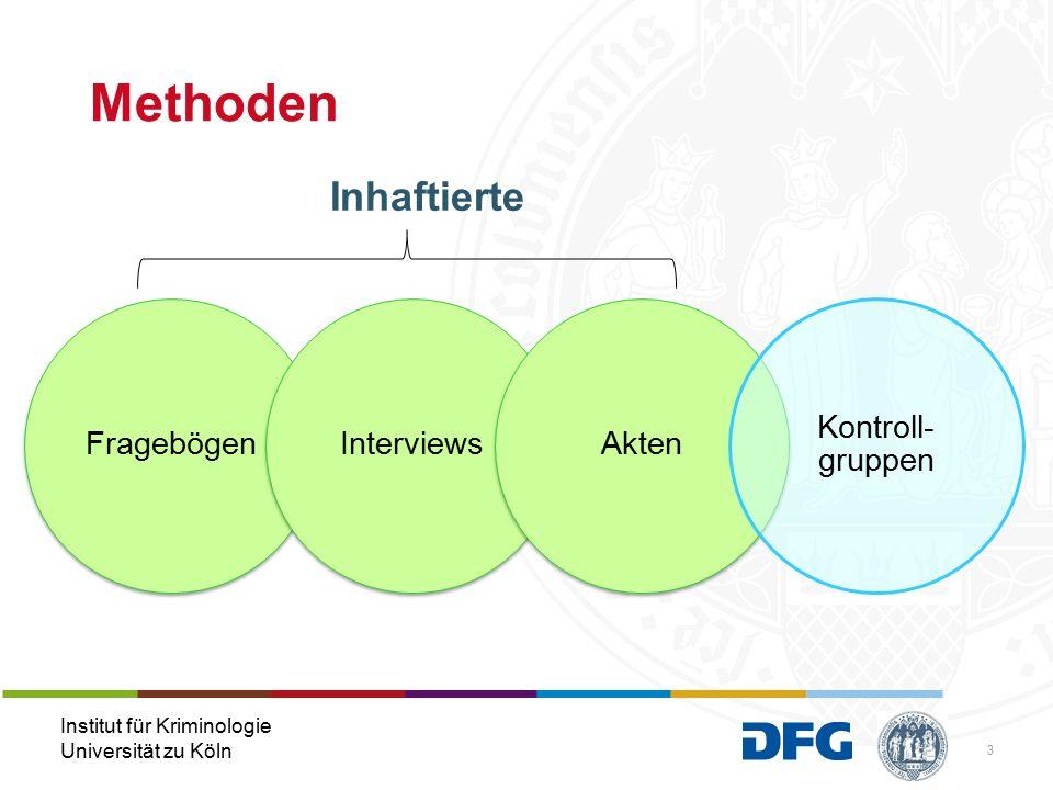 Institut für Kriminologie Universität zu Köln Methoden FragebögenInterviewsAkten Kontroll- gruppen 3 Inhaftierte