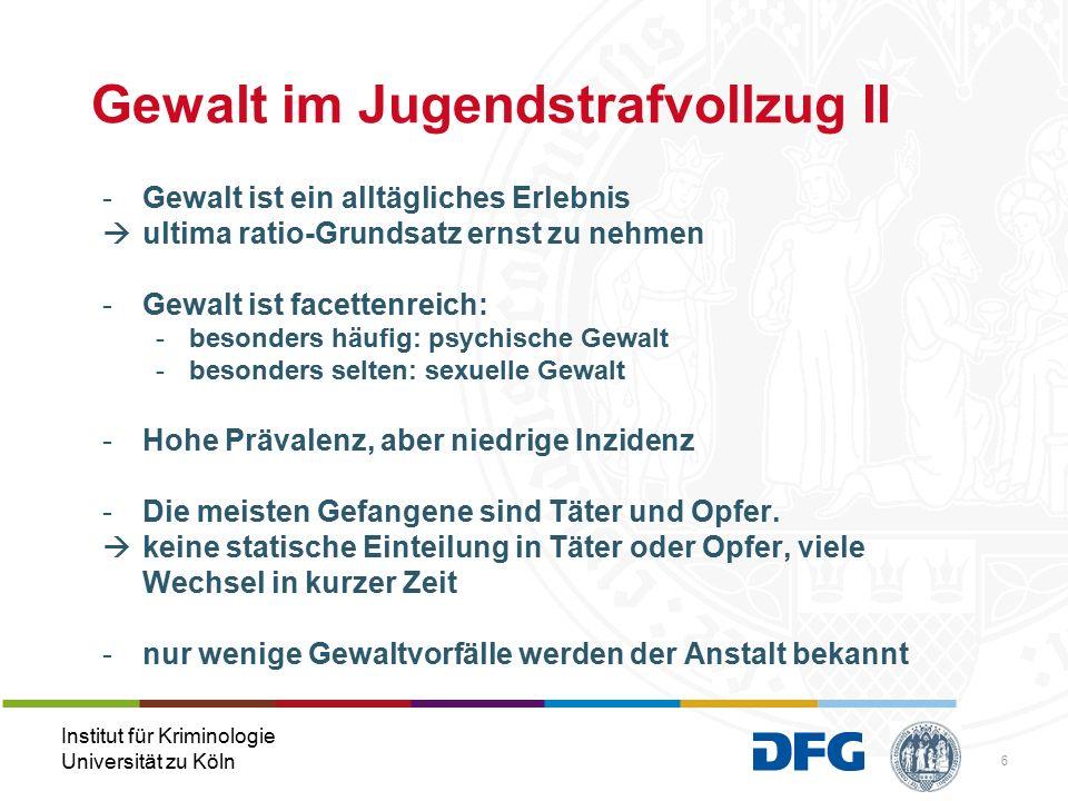 Institut für Kriminologie Universität zu Köln Beobachtete Gewalt in den letzten 3 Monaten (Frauen, n = 53) Mittelwert Physische Gewalt 0,59 Nie Materielle Gewalt 0,47 Nie Zwang/Erpressung 0,29 Nie Sexuelle Gewalt 0,06 Nie Gesamteinschätzung 0,36 Jemals beobachtet: sexuelle Belästigung: 7,6% (4) Vergewaltigung: 1,9% (1)
