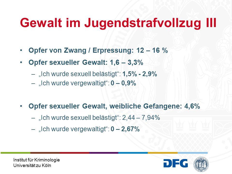 Institut für Kriminologie Universität zu Köln Befragte Männer –Sexuelle Belästigung: 4% (n=31) –Vergewaltigung durch Mitgefangene: 1% (n=9) Befragte Frauen –Sexuelle Belästigung: 7% (n=16) –Vergewaltigung durch Mitgefangene: 1% (n=3) Gewalt im Jugendstrafvollzug IV