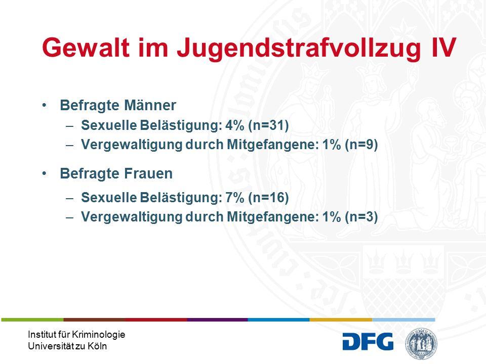 """Institut für Kriminologie Universität zu Köln """"Tatort Duschraum 12 von 1.022 Fälle (Aktenuntersuchung des hessischen Justizvollzugs, 2002) Hier: Dusche als Ort der Viktimisierung  häufiger von männlichen Gefangenen genannt, die sexuelle Viktimisierung erfahren haben, als jene, die Opfer von nicht-sexueller Gewalt geworden sind (28% vs."""