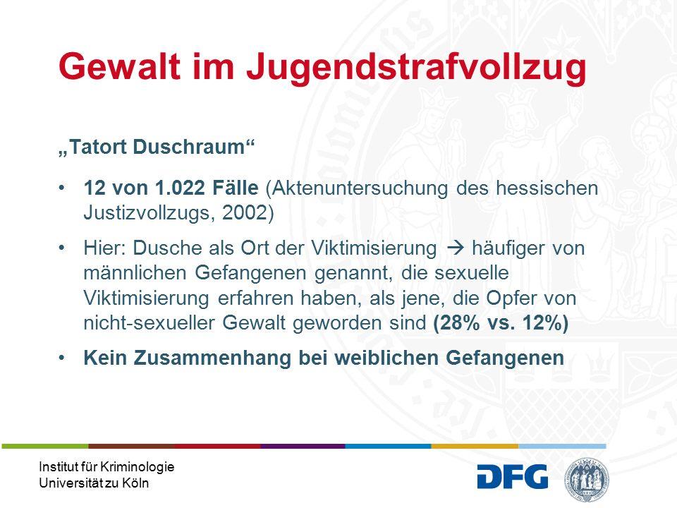Institut für Kriminologie Universität zu Köln Finden einer möglichst ähnlichen Kontrollgruppe 10 zu 10 weibliche Gefangene 35 zu 35 männliche Gefangene