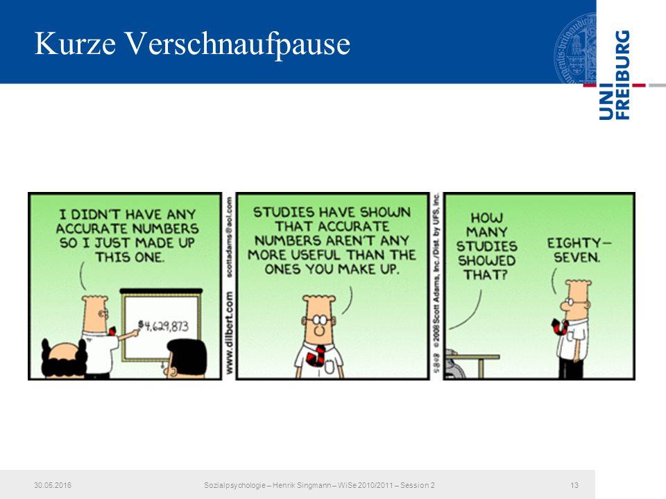 Kurze Verschnaufpause 30.05.2016Sozialpsychologie – Henrik Singmann – WiSe 2010/2011 – Session 213