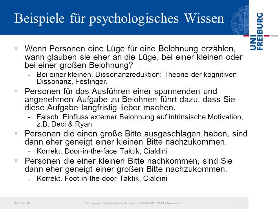 Beispiele für psychologisches Wissen  Wenn Personen eine Lüge für eine Belohnung erzählen, wann glauben sie eher an die Lüge, bei einer kleinen oder bei einer großen Belohnung.