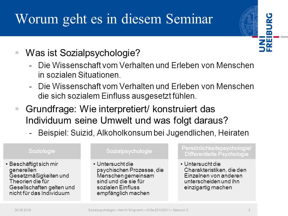 Worum geht es in diesem Seminar  Was ist Sozialpsychologie.