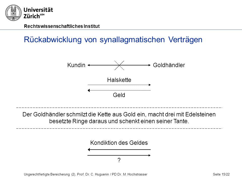 Rechtswissenschaftliches Institut Seite 15/22 Rückabwicklung von synallagmatischen Verträgen KundinGoldhändler Halskette Geld Kondiktion des Geldes .