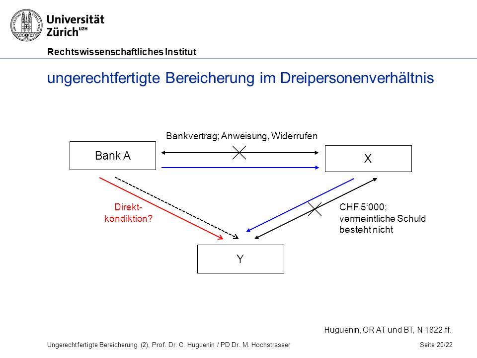 Rechtswissenschaftliches Institut Seite 20/22 Huguenin, OR AT und BT, N 1822 ff.