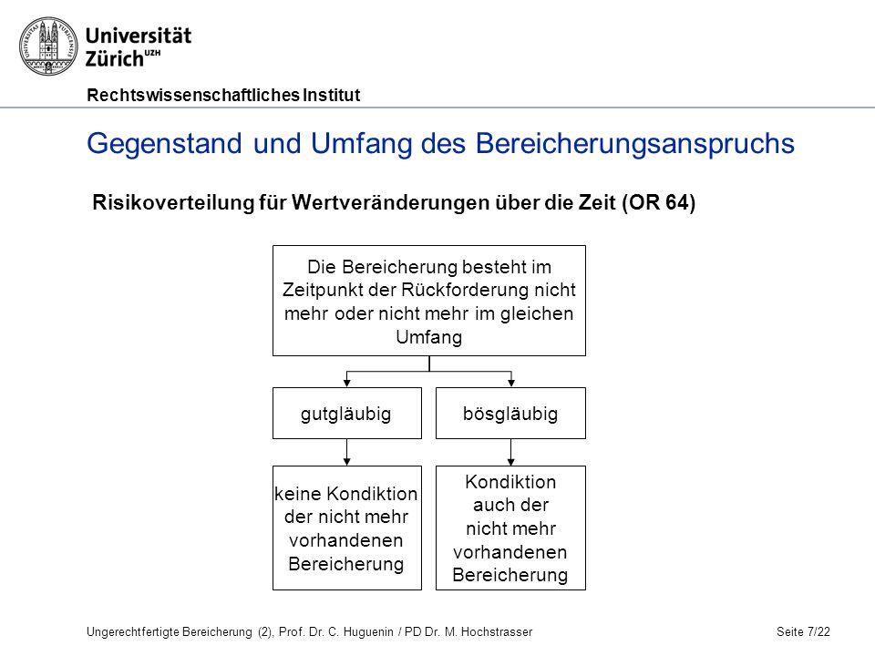 Rechtswissenschaftliches Institut Seite 8/22 Gegenstand und Umfang des Bereicherungsanspruchs II.