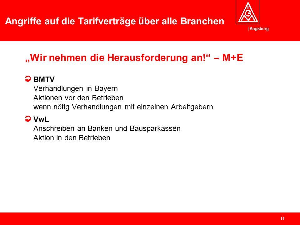 """Augsburg Angriffe auf die Tarifverträge über alle Branchen 10 """"Wir nehmen die Herausforderung an!"""" – Branchen Kfz-Handwerk Aktion Tariftreue – wir ver"""