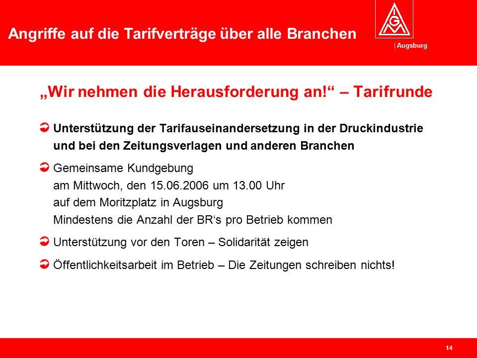 """Augsburg Angriffe auf die Tarifverträge über alle Branchen 13 """"Wir nehmen die Herausforderung an!"""" – Tarifrunde Aktion """"Kapitalismus pur"""" mit Renditew"""