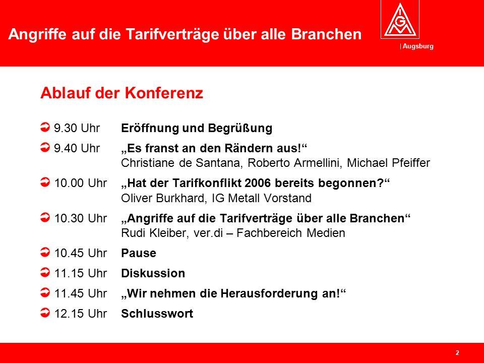 Augsburg Angriffe auf die Tarifverträge über alle Branchen Tarifkonferenz 11.06.2005 in Gersthofen