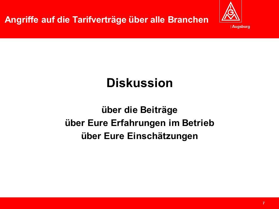Augsburg Angriffe auf die Tarifverträge über alle Branchen 6 Pause Stärkung mit Weißwürsten