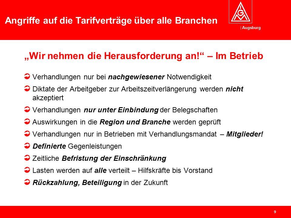 """Augsburg Angriffe auf die Tarifverträge über alle Branchen 8 """"Wir nehmen die Herausforderung an"""" Jürgen Kerner"""