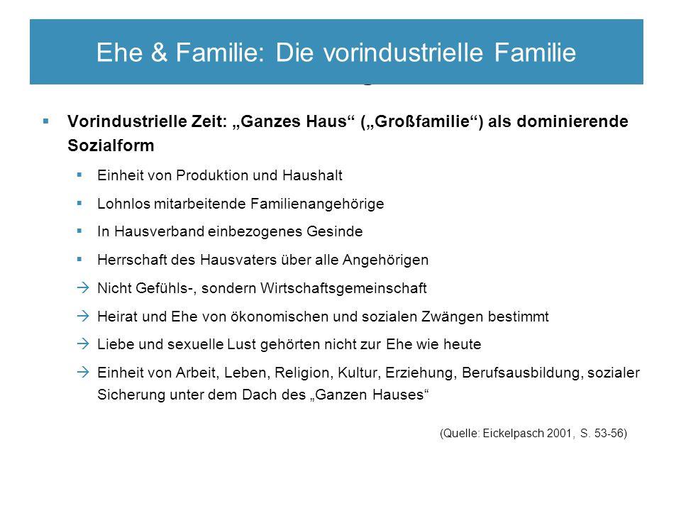 """Elitäre Rekrutierungsmechanismen  Vorindustrielle Zeit: """"Ganzes Haus"""" (""""Großfamilie"""") als dominierende Sozialform  Einheit von Produktion und Hausha"""