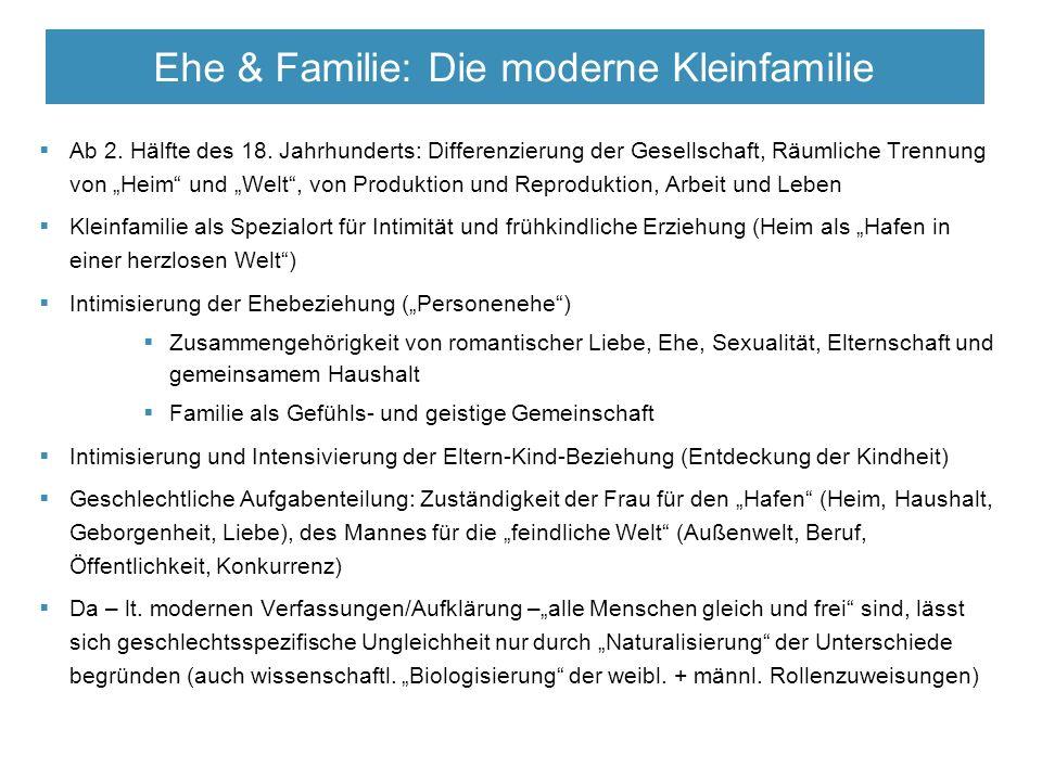 """ Ab 2. Hälfte des 18. Jahrhunderts: Differenzierung der Gesellschaft, Räumliche Trennung von """"Heim"""" und """"Welt"""", von Produktion und Reproduktion, Arbe"""