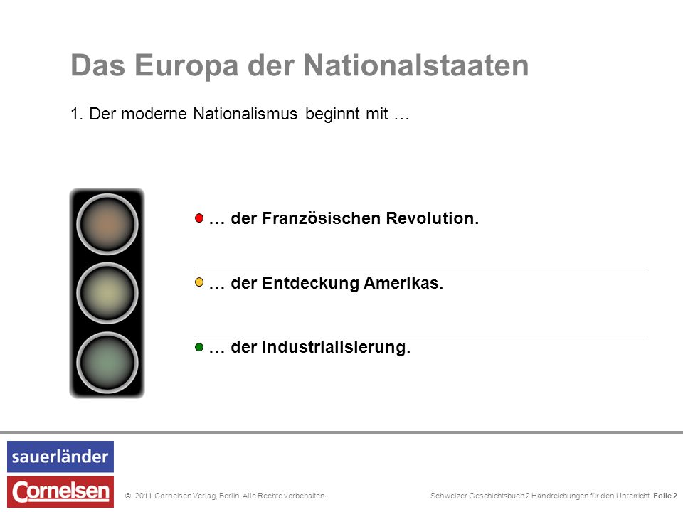 Schweizer Geschichtsbuch 2 Handreichungen für den Unterricht Folie 0© 2011 Cornelsen Verlag, Berlin. Alle Rechte vorbehalten. 5. Das Europa der Nation