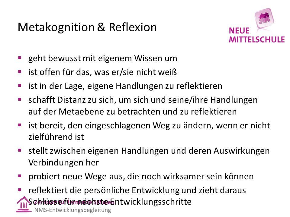 Metakognition & Reflexion  geht bewusst mit eigenem Wissen um  ist offen für das, was er/sie nicht weiß  ist in der Lage, eigene Handlungen zu refl