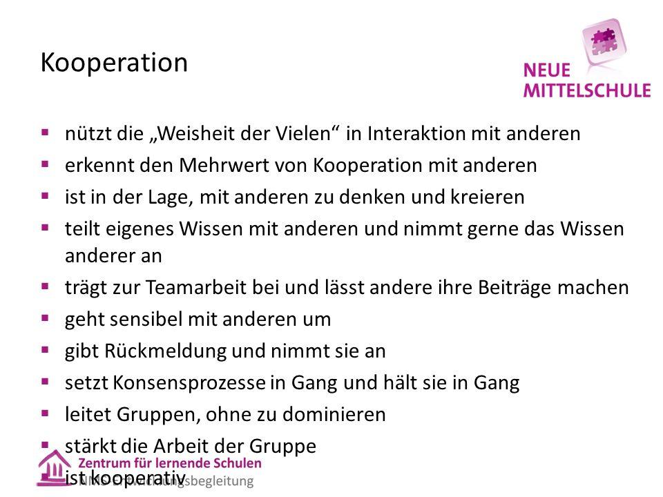 """Kooperation  nützt die """"Weisheit der Vielen"""" in Interaktion mit anderen  erkennt den Mehrwert von Kooperation mit anderen  ist in der Lage, mit and"""