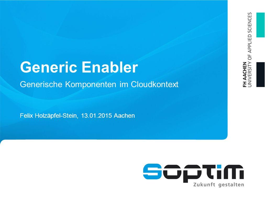 Generic Enabler Felix Holzäpfel-Stein, 13.01.2015 Aachen Generische Komponenten im Cloudkontext