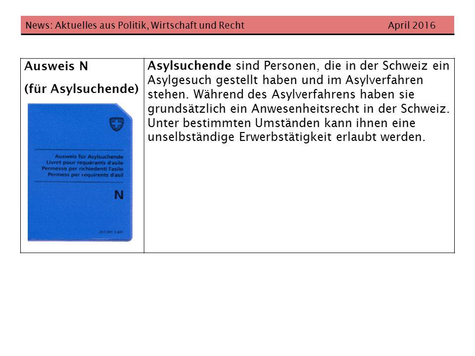 News: Aktuelles aus Politik, Wirtschaft und Recht April 2016 Ausweis N (für Asylsuchende) Asylsuchende sind Personen, die in der Schweiz ein Asylgesuch gestellt haben und im Asylverfahren stehen.