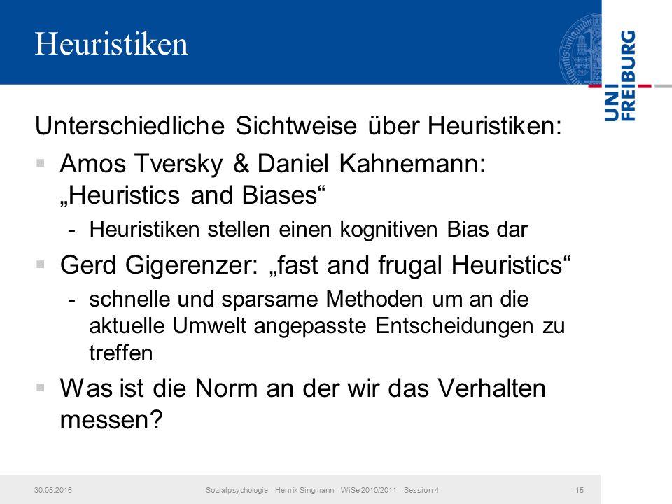 """Heuristiken Unterschiedliche Sichtweise über Heuristiken:  Amos Tversky & Daniel Kahnemann: """"Heuristics and Biases -Heuristiken stellen einen kognitiven Bias dar  Gerd Gigerenzer: """"fast and frugal Heuristics -schnelle und sparsame Methoden um an die aktuelle Umwelt angepasste Entscheidungen zu treffen  Was ist die Norm an der wir das Verhalten messen."""