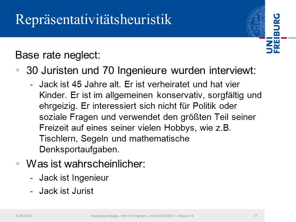 Repräsentativitätsheuristik Base rate neglect:  30 Juristen und 70 Ingenieure wurden interviewt: -Jack ist 45 Jahre alt.
