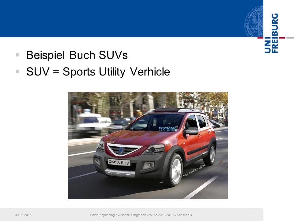  Beispiel Buch SUVs  SUV = Sports Utility Verhicle 30.05.2016Sozialpsychologie – Henrik Singmann – WiSe 2010/2011 – Session 419