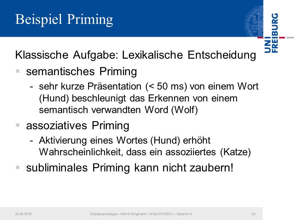 Beispiel Priming Klassische Aufgabe: Lexikalische Entscheidung  semantisches Priming -sehr kurze Präsentation (< 50 ms) von einem Wort (Hund) beschleunigt das Erkennen von einem semantisch verwandten Word (Wolf)  assoziatives Priming -Aktivierung eines Wortes (Hund) erhöht Wahrscheinlichkeit, dass ein assoziiertes (Katze)  subliminales Priming kann nicht zaubern.