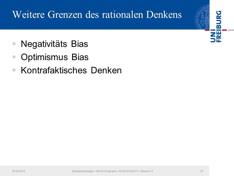 Weitere Grenzen des rationalen Denkens  Negativitäts Bias  Optimismus Bias  Kontrafaktisches Denken 30.05.2016Sozialpsychologie – Henrik Singmann – WiSe 2010/2011 – Session 427