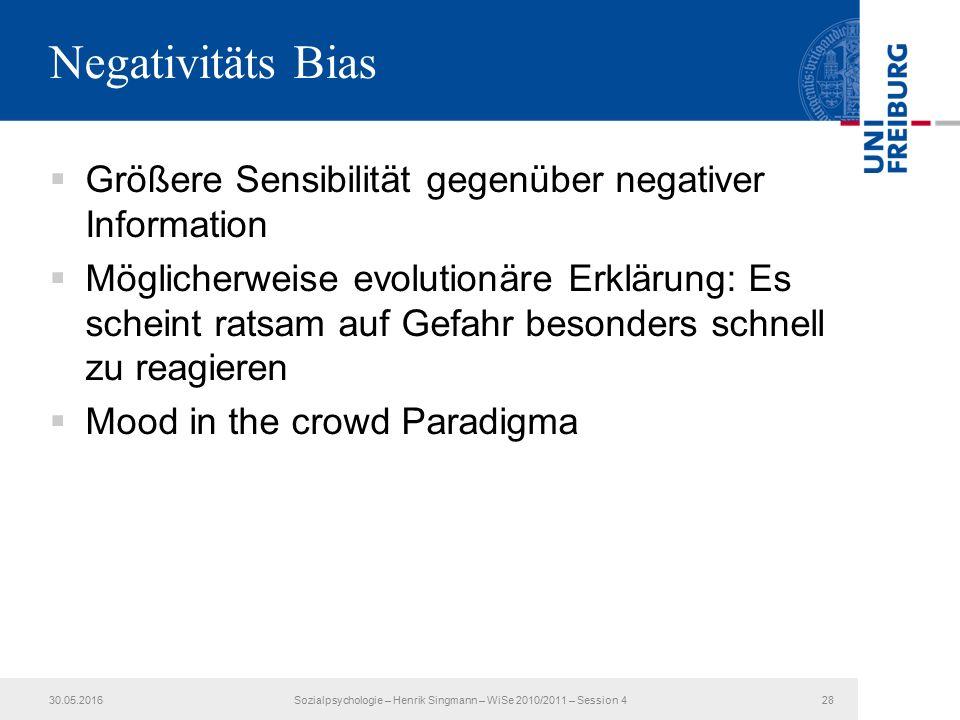 Negativitäts Bias  Größere Sensibilität gegenüber negativer Information  Möglicherweise evolutionäre Erklärung: Es scheint ratsam auf Gefahr besonders schnell zu reagieren  Mood in the crowd Paradigma 30.05.2016Sozialpsychologie – Henrik Singmann – WiSe 2010/2011 – Session 428