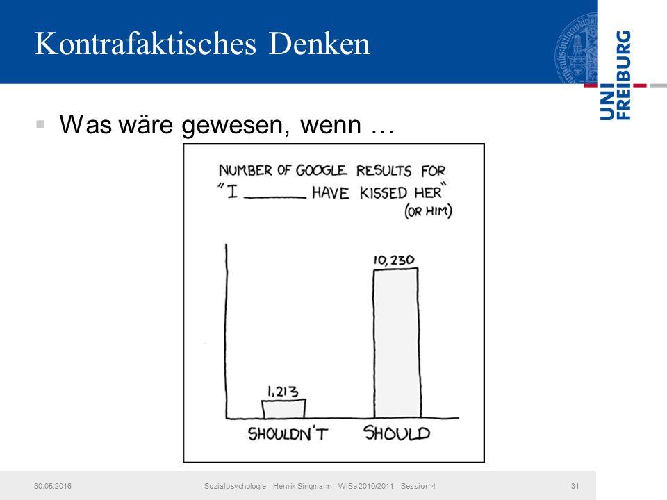 Kontrafaktisches Denken  Was wäre gewesen, wenn … 30.05.2016Sozialpsychologie – Henrik Singmann – WiSe 2010/2011 – Session 431