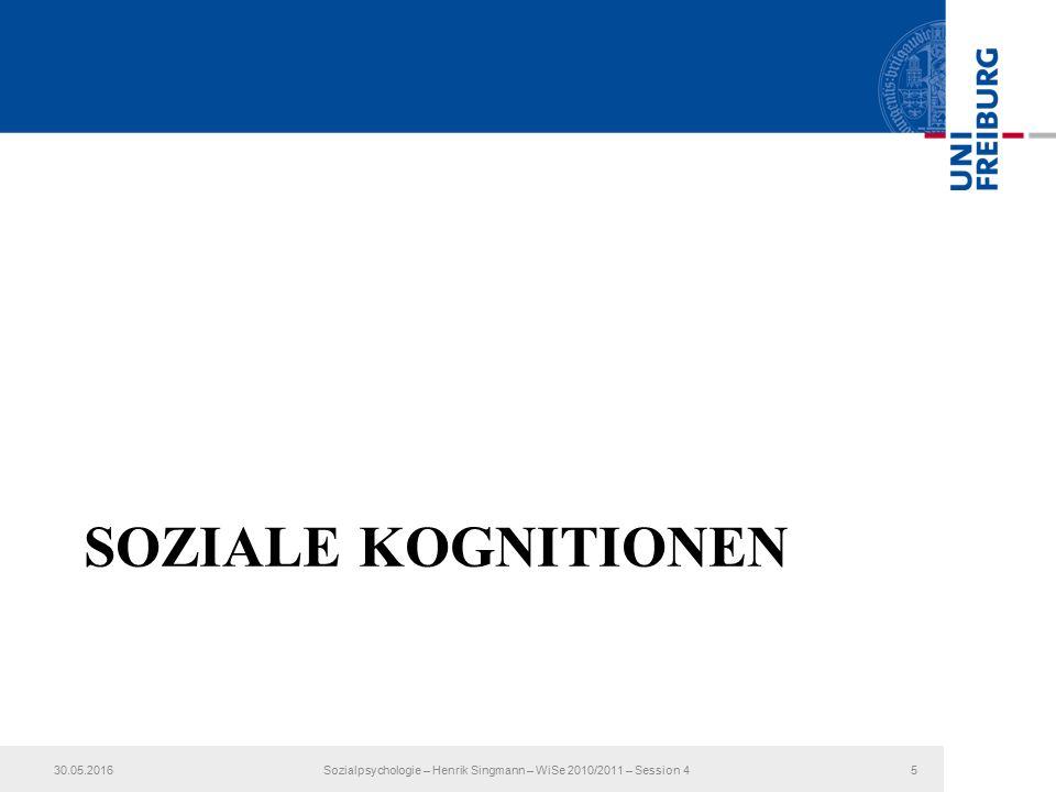 SOZIALE KOGNITIONEN 30.05.2016Sozialpsychologie – Henrik Singmann – WiSe 2010/2011 – Session 45