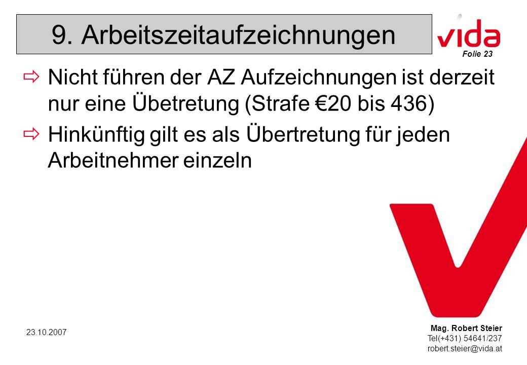 Folie 23 Mag. Robert Steier Tel(+431) 54641/237 robert.steier@vida.at 23.10.2007 9.