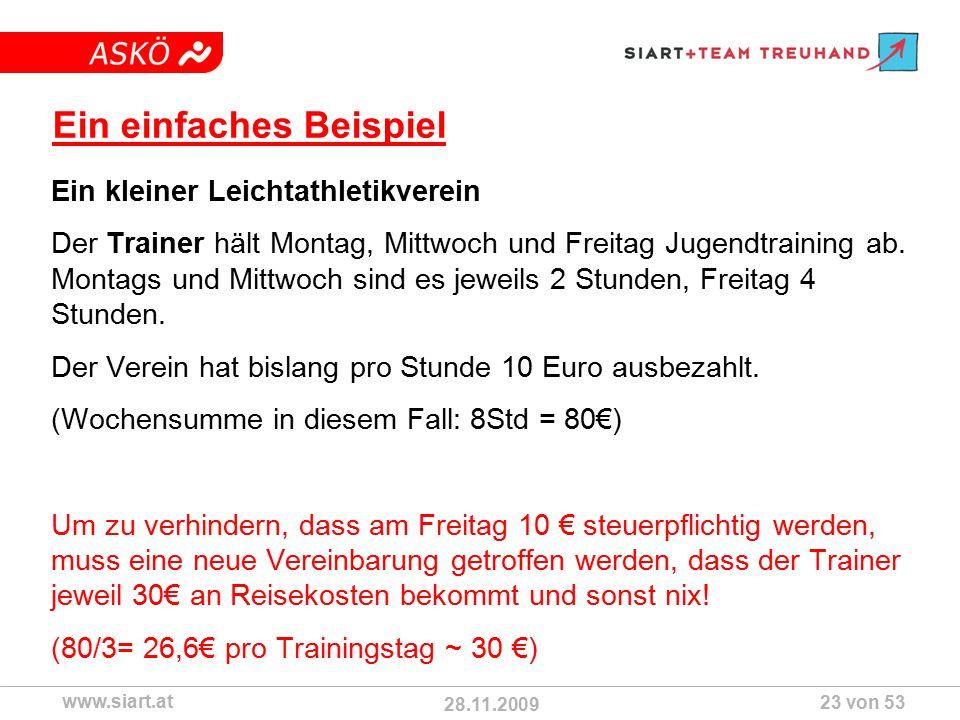 28.11.2009 ASKÖ www.siart.at 23 von 53 Ein einfaches Beispiel Ein kleiner Leichtathletikverein Der Trainer hält Montag, Mittwoch und Freitag Jugendtraining ab.
