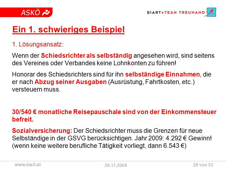 28.11.2009 ASKÖ www.siart.at 29 von 53 Ein 1. schwieriges Beispiel 1.