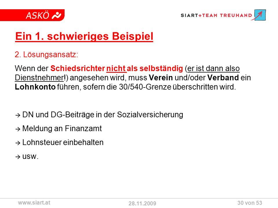 28.11.2009 ASKÖ www.siart.at 30 von 53 Ein 1. schwieriges Beispiel 2.