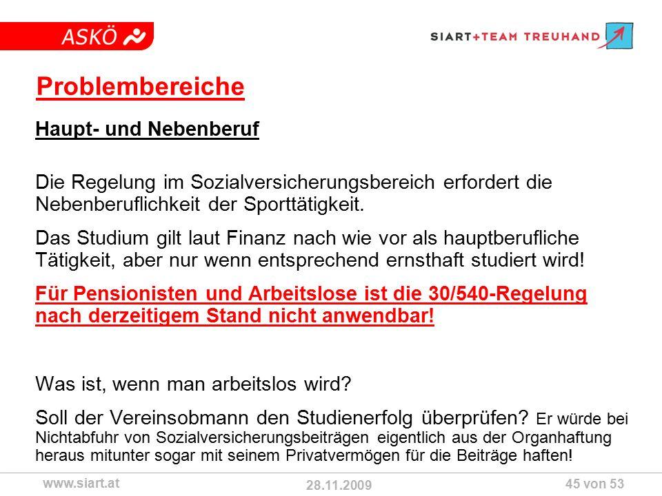 28.11.2009 ASKÖ www.siart.at 45 von 53 Problembereiche Haupt- und Nebenberuf Die Regelung im Sozialversicherungsbereich erfordert die Nebenberuflichkeit der Sporttätigkeit.