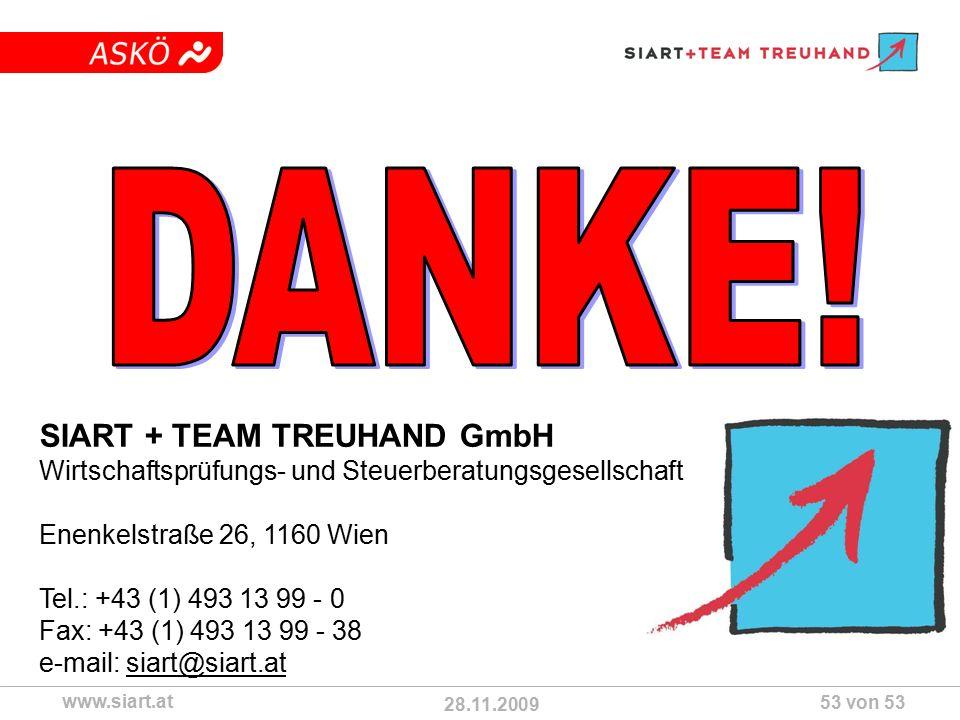 28.11.2009 ASKÖ www.siart.at 53 von 53 SIART + TEAM TREUHAND GmbH Wirtschaftsprüfungs- und Steuerberatungsgesellschaft Enenkelstraße 26, 1160 Wien Tel.: +43 (1) 493 13 99 - 0 Fax: +43 (1) 493 13 99 - 38 e-mail: siart@siart.at